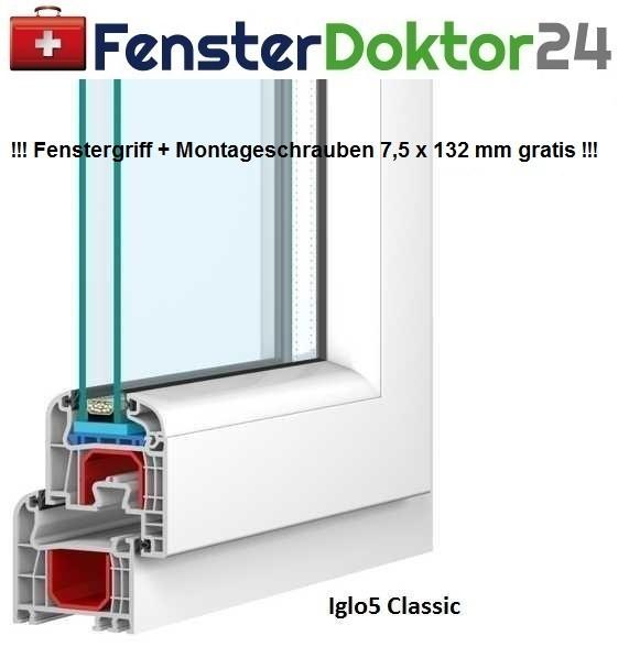 Kunststoff Fenster Breite 500 mm - 1 Flügel - Kipp mit 2 oder 3fach Glas